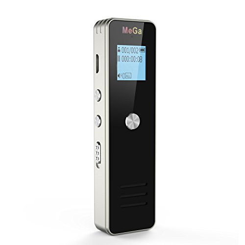 Digital Voice Recorder, MeGa 8GB Digital Audio Sound Recorder Dictaphone, Voice Activated Recorder with MP3 Player, Dual microphones, Zinc Alloy for Meeting, Lecture and more