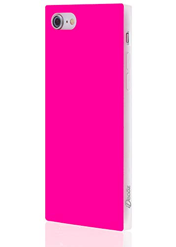 iDecoz Cases with Corners. Protect in Style! Square Corners Provide Extra Shockproof Protection w/a Chic Look. Phone Case Designed for Apple iPhone 8 and 7 (Neon Pink)