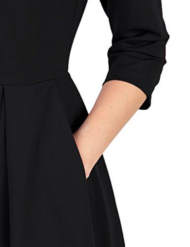 KASCLINO Skater Dress, Women Youth Polyster Loosely Drape Hem Retro Jersey Trendy Tops Black S