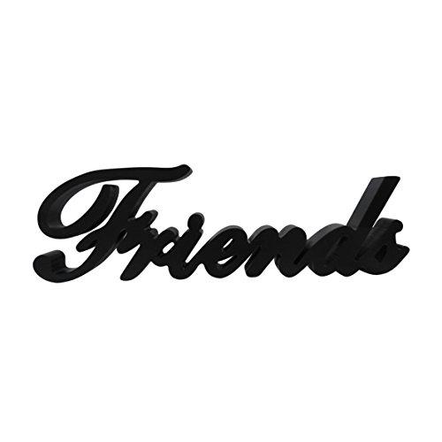 (CVHOMEDECO. Matt Black Wooden Words Sign Free Standing Friends Tabletop/Shelf/Home Wall/Office Decoration Art, 14-1/2