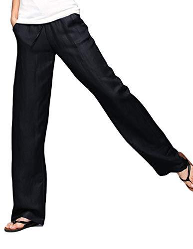 Ecupper Women's Plus Size Elastic Waist Casual Trousers Straight Leg Tencel Pants with Drawstring Black 31