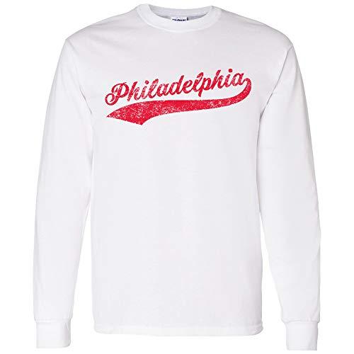 UGP Campus Apparel Philadelphia Baseball Script - Hometown Pride, Pitcher Long Sleeve T Shirt - Medium - White