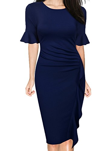 WOOSUNZE Women's Business Retro Ruffles Bell Sleeve Slim Cocktail Pencil Dress (Navy Blue, Large) ()