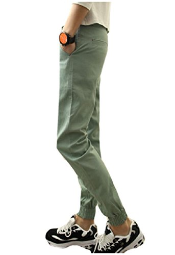 Zimaes-Men Cotton Slim-Tapered All Colors Work To Weekend Harem Pants Light Green XL (Weekend Pants Chino Cropped)