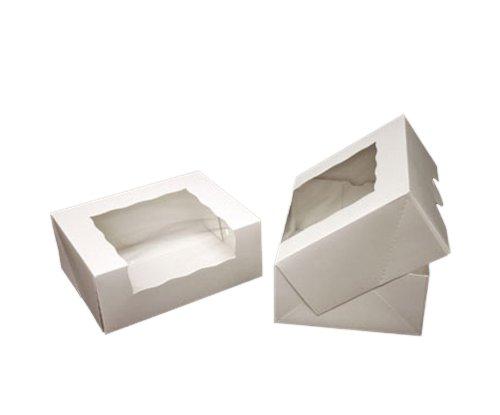 Dress My Cupcake Timesaver Window Cupcake Box with Lid, White, Set of 100