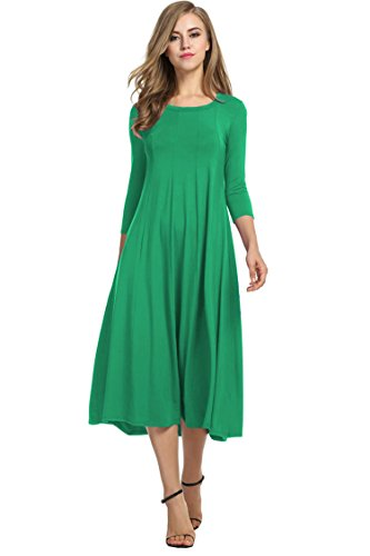 Hotouch Women's 3 4 Sleeve Solid Plus Size Midi Long Dress (Dark Green S) from Hotouch