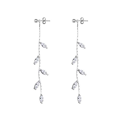 (FarryDream 925 Sterling Silver Droplet Threader Earrings Chain for Women Elegant Dangle)