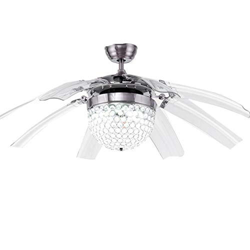 Crystal Retractable Ceiling Fan with Remote Control Modern Fans Chandelier...