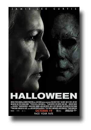 Halloween Poster Movie Promo 11 x 17 inches 2018 Jamie Lee Curtis Michael Myers Both]()