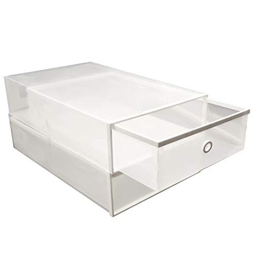 FIXSMITH-Transparent-Boot-Storage-Boxes,Stackable Plastic Boot Containers,Closet Shoe Cases w/Reinforced Frame,Drawer Type,Foldable Shoe Organizer,Heavy Duty Boot Storage,2 Pack,Multi-Purpose.