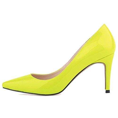 Cuir à Pointu Hauts Femmes en Mouth Talons Chaussures Pumps Toe Xianshu Vert Stiletto Verni Shallow Fluorescent qBwnfaFRR