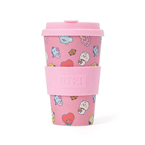 BT21 Character Reusable Tumbler Water Bottle Cup with Lid and Sleeve - BPA Free, 400 mL, Pink
