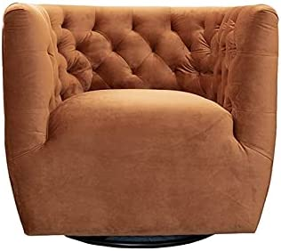 ASHCROFT Rose Mid-Century Modern Burnt Orange Velvet Swivel Accent Chair