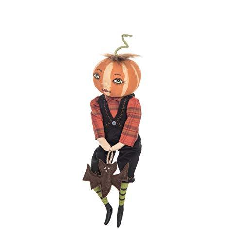 GALLERIE II Nevin Pumpkin Head Boy Figure Halloween Fall Harvest Art Doll Décor ()