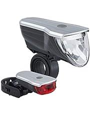 Büchel Unisex– Erwachsene Vancouver Pro, 70 Lux, LED Akkuleuchtenset, schwarz, 51227500 Fahrradbeleuchtungsset, Silber, one Size