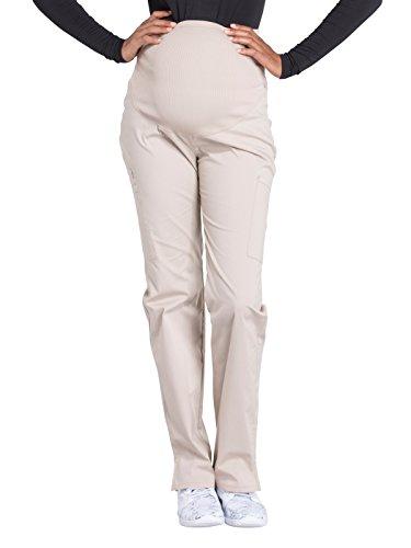 Cherokee Workwear Professionals by Women's Maternity Soft Knit Waistband Scrub Pant Large Petite Khaki