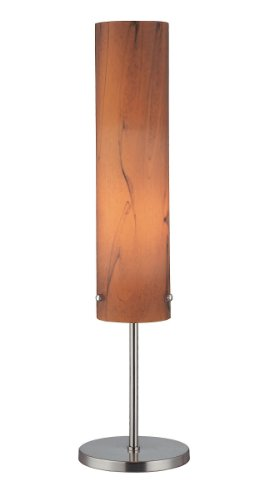 Lite Source Glass Polished Floor Lamp - Lite Source LS-20450 Aolani Table Lamp, Polished Silver with Dark Amber Glass Shade