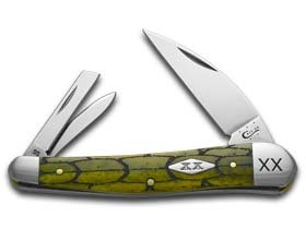 (CASE XX Tortoise Shell Olive Green Seahorse Whittler 1/500 Stainless Pocket Knife Knives)