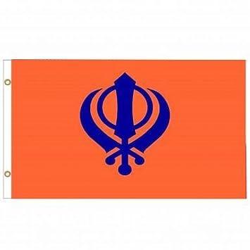 Amazon.com: Sikh Khanda Flag by India: Sports & Outdoors
