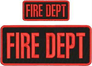FIRE DEPT Embroidery Patch 4X10 & 2X5 Hook ON Back BLK/RED by HighQ Store (Embroidery Fire Dept)