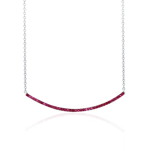Rhodium Plated Silver Synthetic Ruby Bar Necklace-18