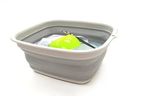 (SAMMART 7.7L (2 Gallon) Collapsible Tub - Foldable Dish Tub - Portable Washing Basin - Space Saving Plastic Washtub (Grey,)