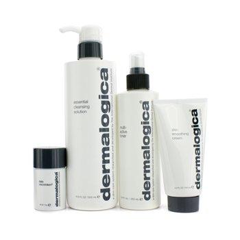 Multi Active Cleansing Cream (Festive Set: Essential Cleansing Solution 500ml + Multi-Active Toner 250ml + Skin Smoothing Cream 100ml + Daily Microfoliant 13g 4pcs)