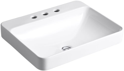 KOHLER K-2660-8-0 Vox Rectangle Vessel with Widespread Faucet Holes, White (Vitreous China White Rectangular Vessel Bathroom Sink)