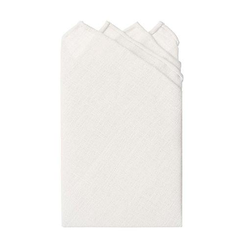 Jacob Alexander Linen Handrolled 15'' x 15'' Pocket Square Hanky - White by Jacob Alexander