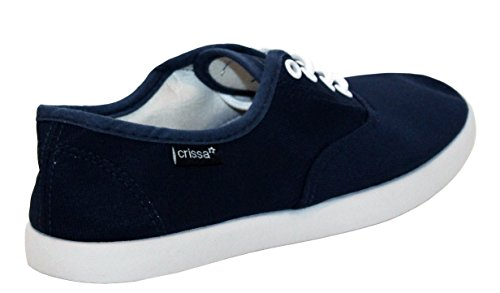 Lace Shoes Flat Womens Girls UK 6 up Canvas Size Footwear Casual New A 5 4 amp;H 7 Blue Pumps Ladies Trainers Plimsolls 6wq4Yp