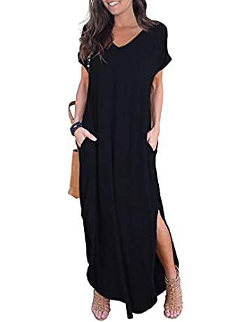 2daba8a4db GRECERELLE Women's Casual Loose Pocket Long Dress Short Sleeve Split Maxi  Dresses
