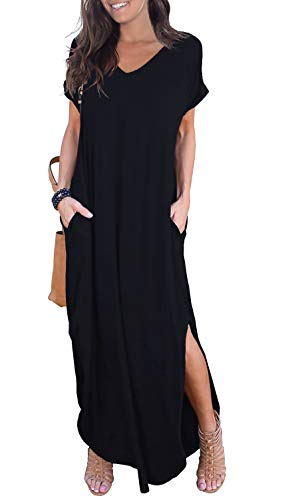 GRECERELLE Women's Casual Loose Pocket Long Dress Short Sleeve Split Maxi Dress Black 2XL