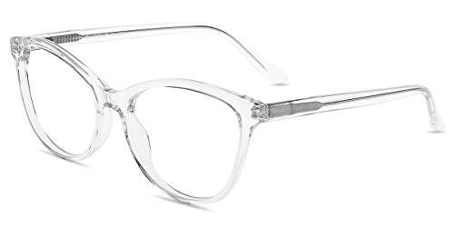 Firmoo Women Blue Light Blocking Glasses, Chic Cat Eye Computer Eyeglasses Anti Eyestrain Anti Glare Eyewear(Clear Frame) (Glasses Cat Eye Wide)