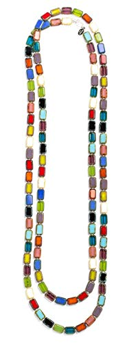 (Long Beaded Necklace in Rainbow Multi, 7-Ways to Wear, Glass Tile Beads, 60