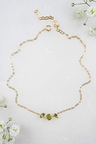 Peridot beaded chain choker necklace in 14k gold fill - 12