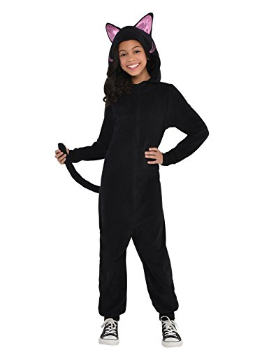 Party City Zipster Black Cat One Piece Halloween Costume for Girls, Small, with Attached Hood and Tail ()