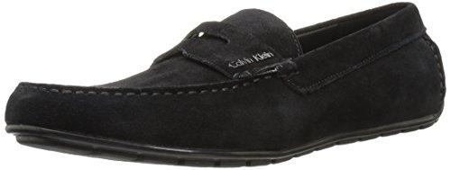 Calvin Klein Men's Ivan Calf Suede Slip-On Loafer, Black, 10.5 M US (Calvin Klein Black Suede Loafers)