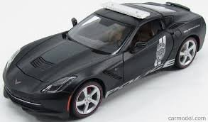 Maisto Year 2015 Special Edition Series 1:18 Scale Die Cast Car Set - Black Color Police Cruiser Sports Coupe 2014 CORVETTE STINGRAY with Display Base (Car Dimension: 9-1/2 x 3-1/2 x 3)