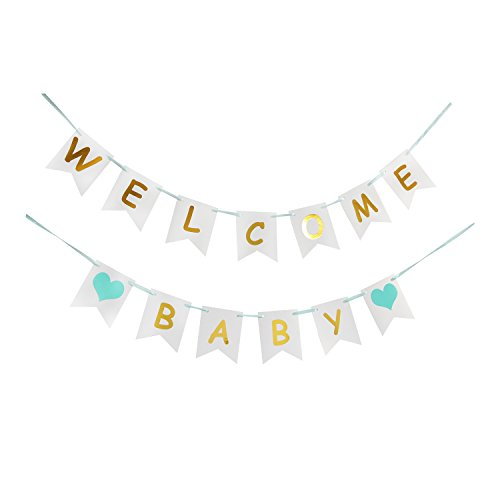 LOVELY BITON Tri-Color Welcome Baby Birthday Banner Baby