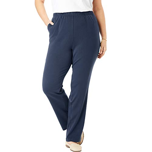 Woman Within Women's Plus Size 7-Day Knit Straight Leg Pant - Navy, 6X