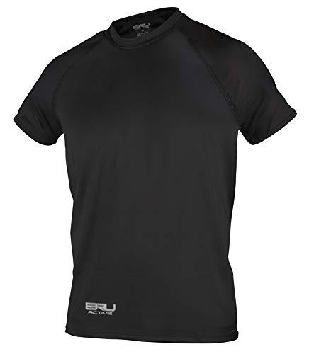 - BRU Active Premium Long Sleeve Sun Protection Shirt Men - Rashguard SPF Performance Cooling UV Shirts for Mens Surfing, Swimming, Fishing, Running & The Outdoors - Cooling Shirt (Black Short, XXXL)