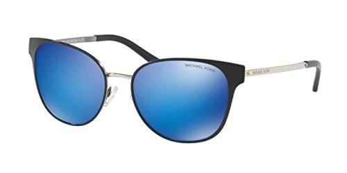 Michael Kors Women's Tia 0MK1022 54mm Black/Silver/Cobalt Mirror - For Kors Women Shades Michael