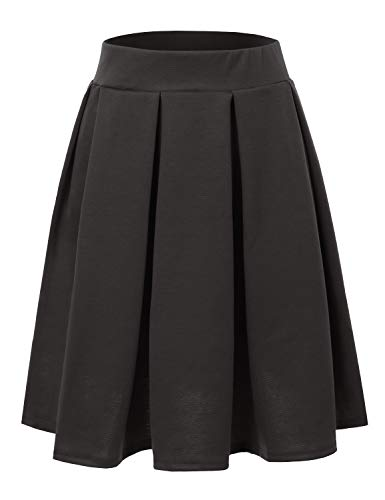 Doublju Elastic Waist Flare Pleated Skater Midi Skirt for Women with Plus Size Gray Small