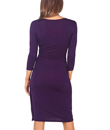 KRISP Vestido Mujer Corto Manga Corta Ajustado Punto Elegante Tallas Grandes Morado (6174)
