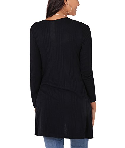 Top Cardigan Basic Donna Elasticizzato Nero Blazer manica Aperto Tasca Signorina lunga KRISP a6xq7C