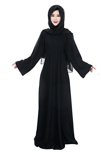 Muslim Women Modest Long Sleeve Maxi Party Prom Abaya Islamic Dress Black S
