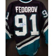 Signed Fedorov, Sergei (Anaheim Mighty Ducks) Authentic Game Anaheim Mighty Ducks Jersey Size 44. (JSA Authenticated) autographed