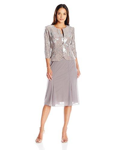 Alex Evenings Women's Tea-Length Dress With Jacket (Regular Sizes), Pewter Frost, 6 Petite - Evening Jacket Dresses