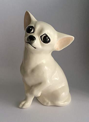 (Chi-hua-hua white faience figurine, handmade, porcelain dog figurine)