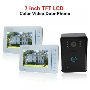 7 Color Video Door Phone intercom 2 Monitor 1 CCD Camera with touch key White